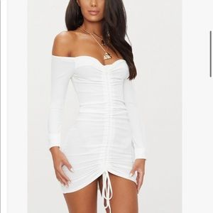 PrettyLittleThing - White Ruched dress (8)